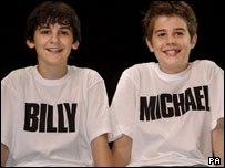 Joey Phillips (r) with Leon Cooke, new stars of Billy Elliot