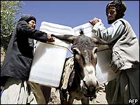 Election workers load ballot boxes onto a donkey in north-western Afghanistan