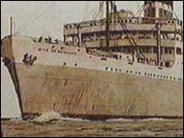The Benares was torpedoed