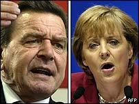 Chancellor Gerhard Schroeder and CDU leader Angela Merkel