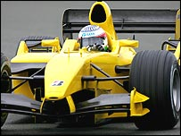 Narain Karthikeyan behind the wheel of a Jordan on Wednesday