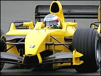 Narain Karthikeyan behind the wheel of a Jordan on Wednesday