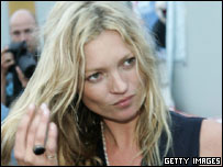 Model Kate Moss at the Glastonbury festival in 2005