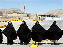 Iranian women rally in support of nuclear power outside Isfahan uranium plant
