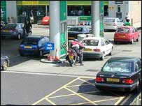 Cars at a forecourt