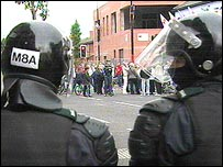 Police in riot gear at Saturday's protest