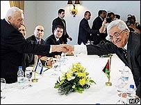 Ariel Sharon and Mahmoud Abbas