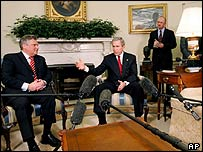 Polish President Aleksander Kwasniewski, left, and US President George W Bush