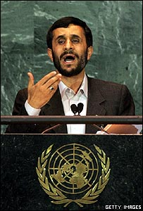 Iranian President Mahmoud Ahmadinejad addresses the UN General Assembly