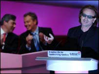 Bono, Tony Blair and Gordon Brown at the Labour party conference