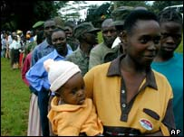 Voters in Kampala in the 2001 general election