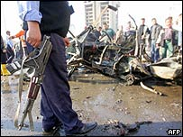 Scene of the suicide car bomb blast in Baghdad
