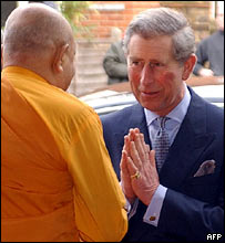 Prince Charles at the London Buddhist Vihara Monastery in west London