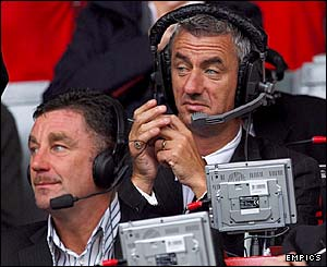 Liverpool striking legends John Aldridge and Ian Rush take their places in the press box