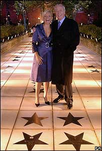 Kate Thornton and Sir Michael Caine on the Avenue of Stars