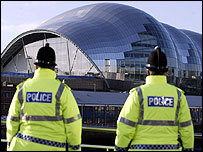 Police near the Sage Gateshead