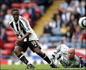 Newcastle's Charles N'Zogbia's scores against Blackburn