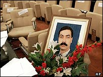 The picture of the slain Iraqi MP Faris Nasir Hussein on his chair at the National Assembly
