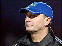 Macclesfield boss Brian Horton watches his team in action