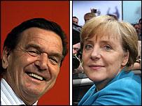 Gerhard Schroeder and Angela Merkel