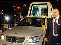 The Pope leaves hospital in the popemobile, 10 February 2005
