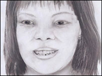 A police sketch of the woman