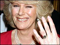 Camilla Parker Bowles shows her engagement ring