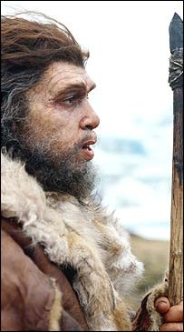 Televisual impression of Neanderthal man (BBC)