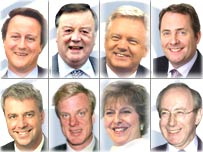 Contenders left to right, top to bottom: David Cameron; Kenneth Clarke; David Davis; Liam Fox; Andrew Lansley; Edward Leigh; Theresa May; Malcolm Rifkind.