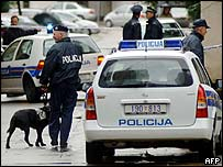 Police outside the British embassy in Zagreb, Croatia