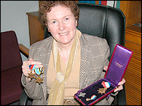 Head teacher Mrs Puw with the medals