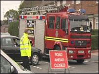 Fire engine near the scene of the blaze