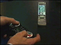 Wireless game controls for mobile phone