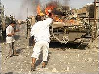 British tank on fire