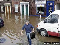 Flooded homes in Carlisle, Cumbria, in January 2005