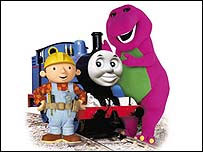 Bob the Builder, Thomas the Tank Engine and Barney