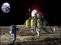 Astronauts on the Moon   Image: Artist's concept by John Frassanito and Associates.
