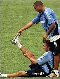 David Beckham and Ronaldo