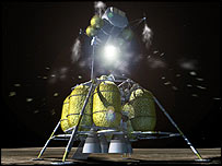 Part of the lunar lander returns astronauts for a rendezvous with their capsule, Image: Nasa