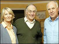 Mr Howard with wife Sandra and film-maker Michael Cockerell
