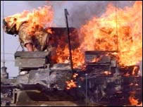 Burning British tank