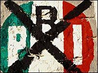 PRI tachado en graffiti.