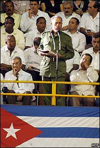 Fidel Castro at a doctors' graduation ceremony