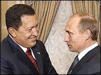 Hugo Chávez, presidente de Venezuela, y su par ruso, Vladimir Putin