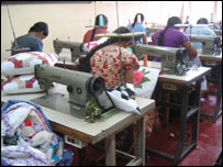 Teenage mothers in Sri Lanka being trained to sew