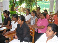 House maids being trained in Sri Lanka