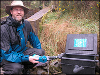 Dr Bill  Perkins with the Bioman near Aberystwyth