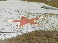 The wreckage of the Russian Su-27 fighter