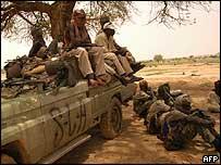 Rebel fighters in Darfur