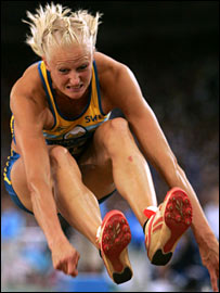 Carolina Kluft in action in the long jump during the World Athletics Championships